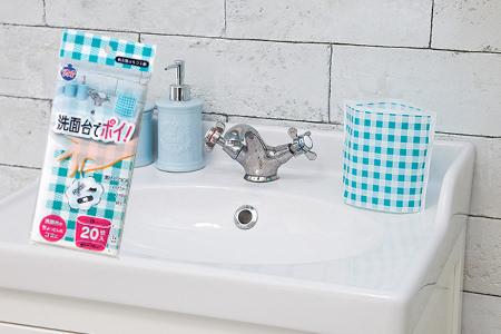 自立型水切り袋「洗面台でポイ!」